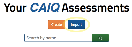 Assessment import button